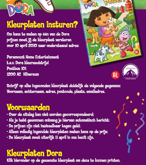 Kleurplaten Dora Als Prinses.Dora Kleurwedstrijd